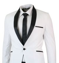 Mens White Black Shawl Collar Tuxedo Dinner Suit Tailored ...
