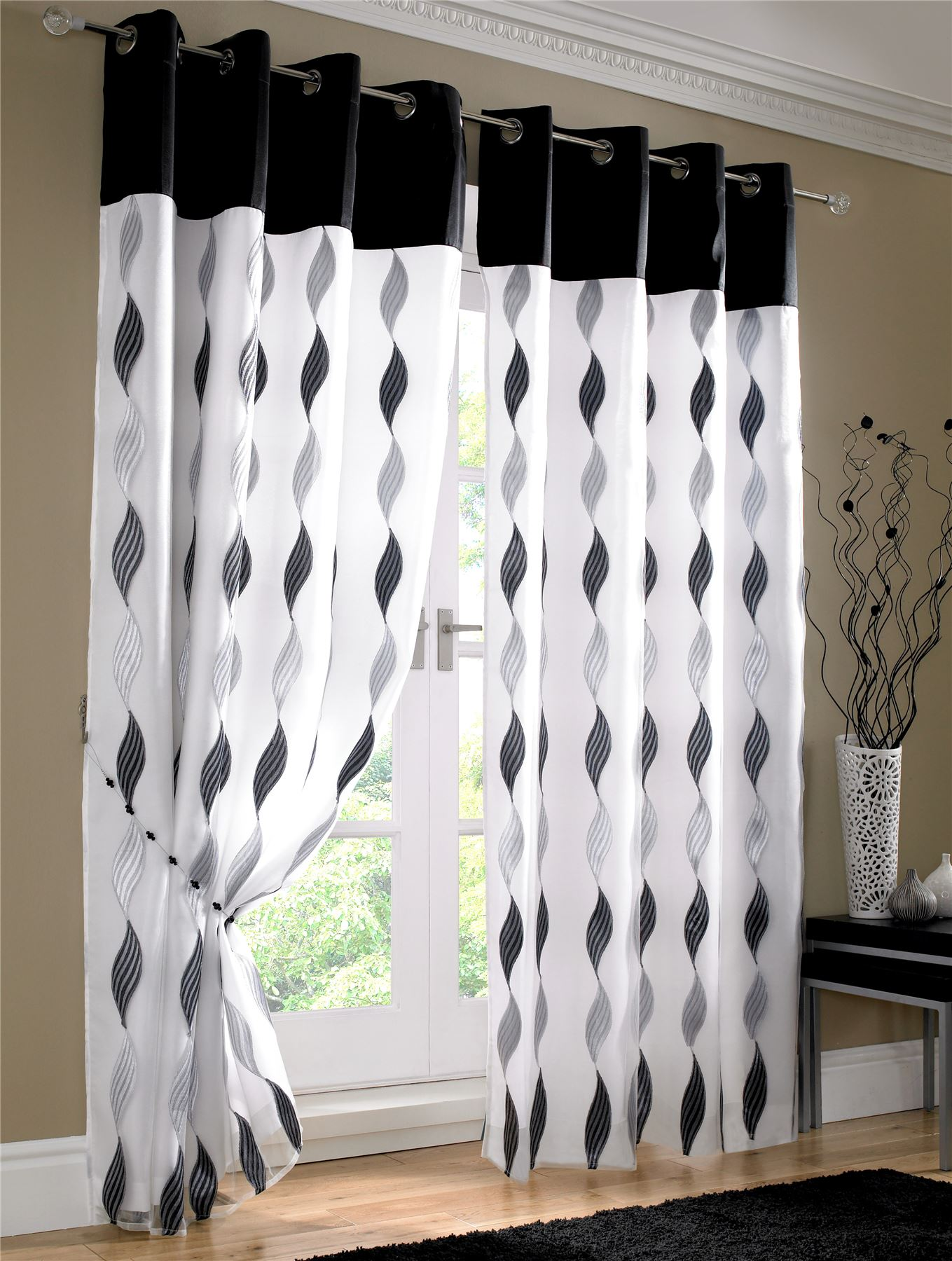 Black White Floral Rose Fully Lined Ring Top Voile Curtain