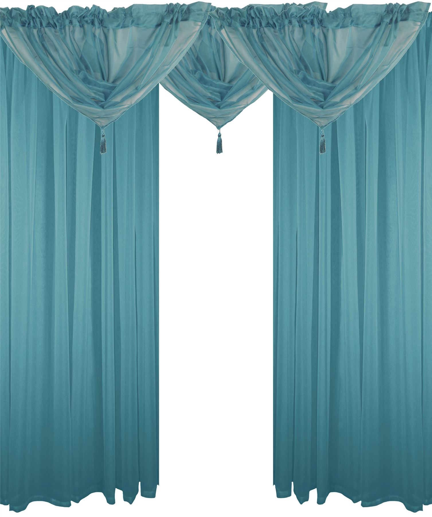 TEAL 5 PIECE VOILE SET ROD POCKET CURTAINS DRAPES  SWAGS