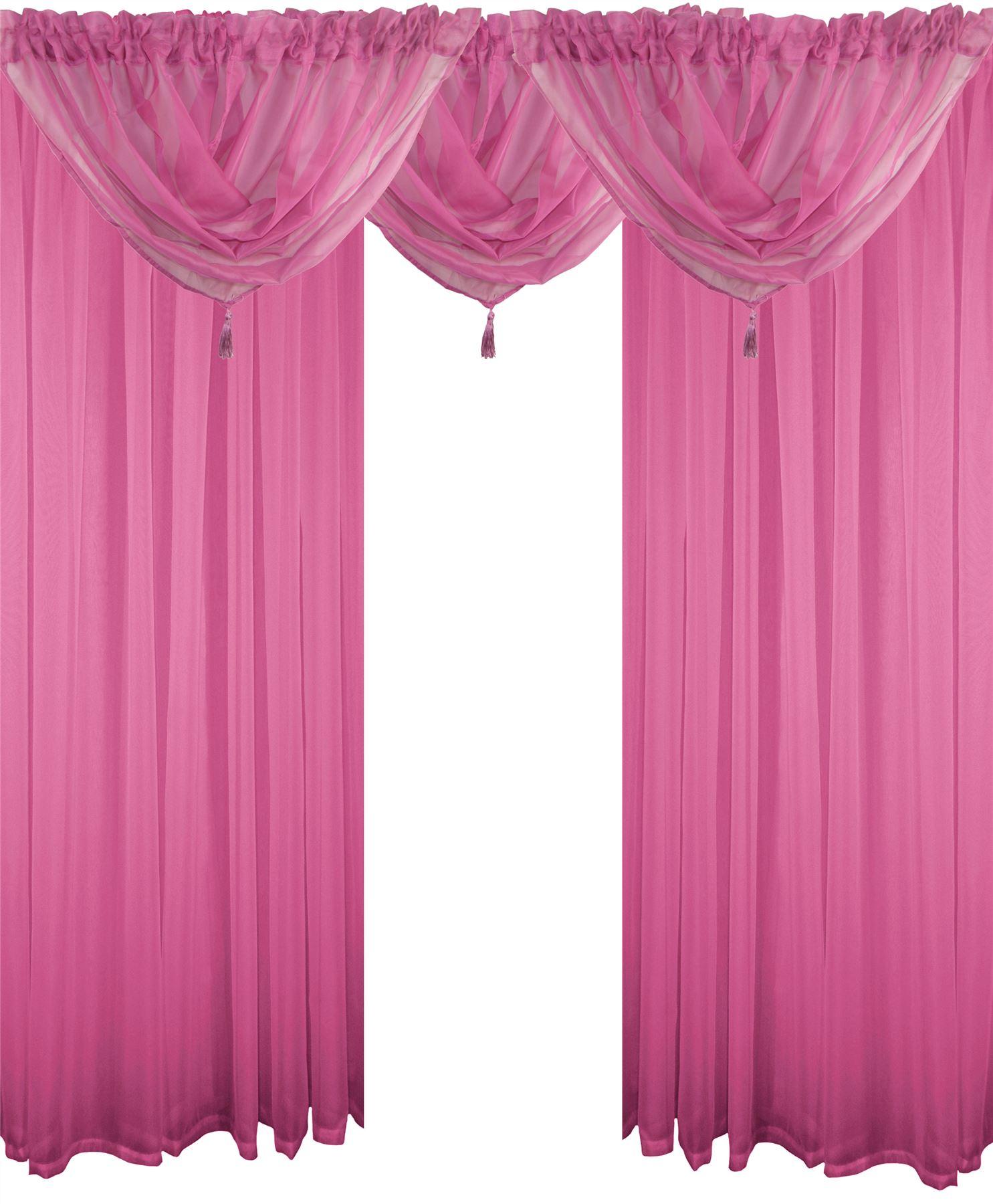 Cerise Pink 5 Piece Voile Set Rod Pocket Curtains D S