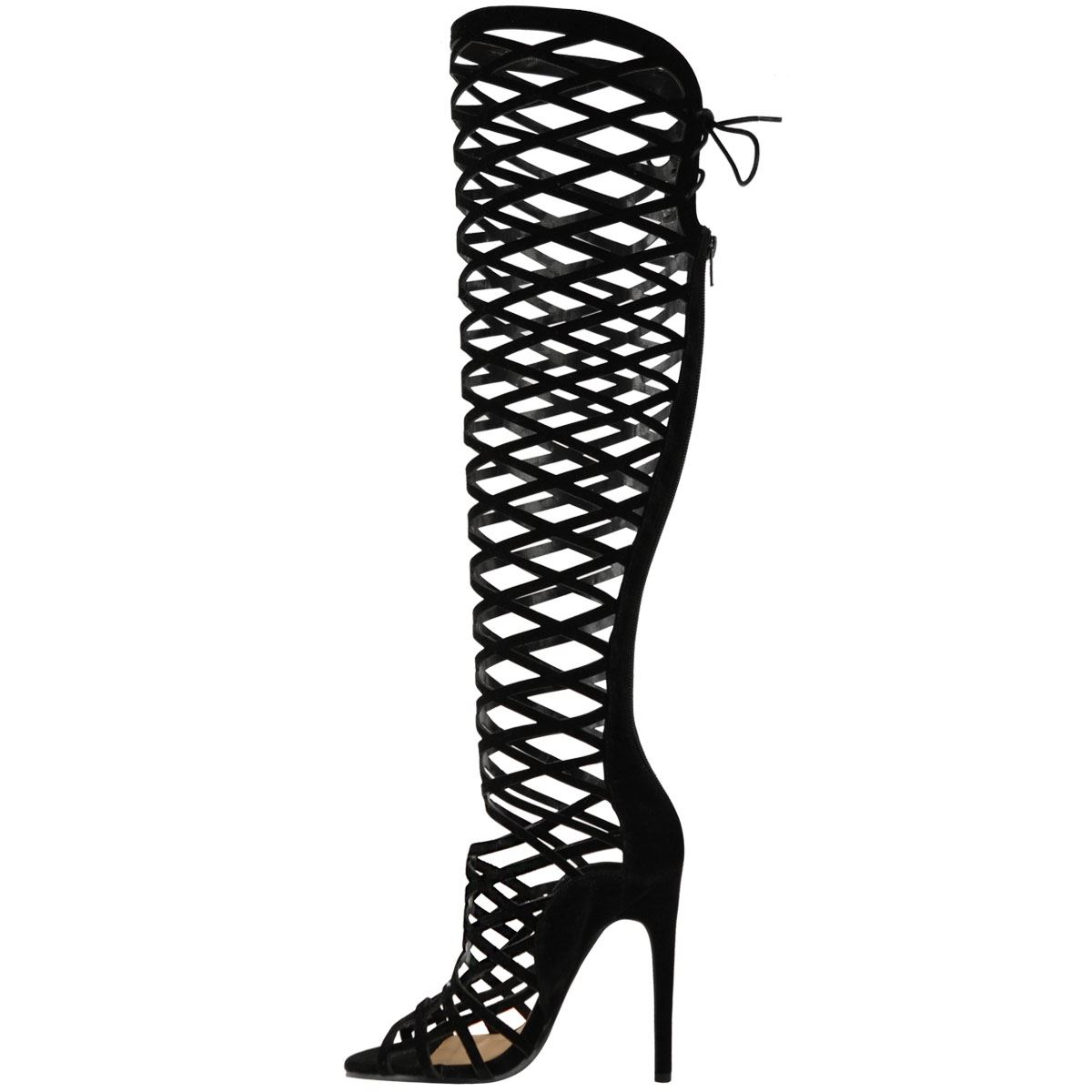 Womens Cut Out Lace Knee High Heel Gladiator Boots Ladies