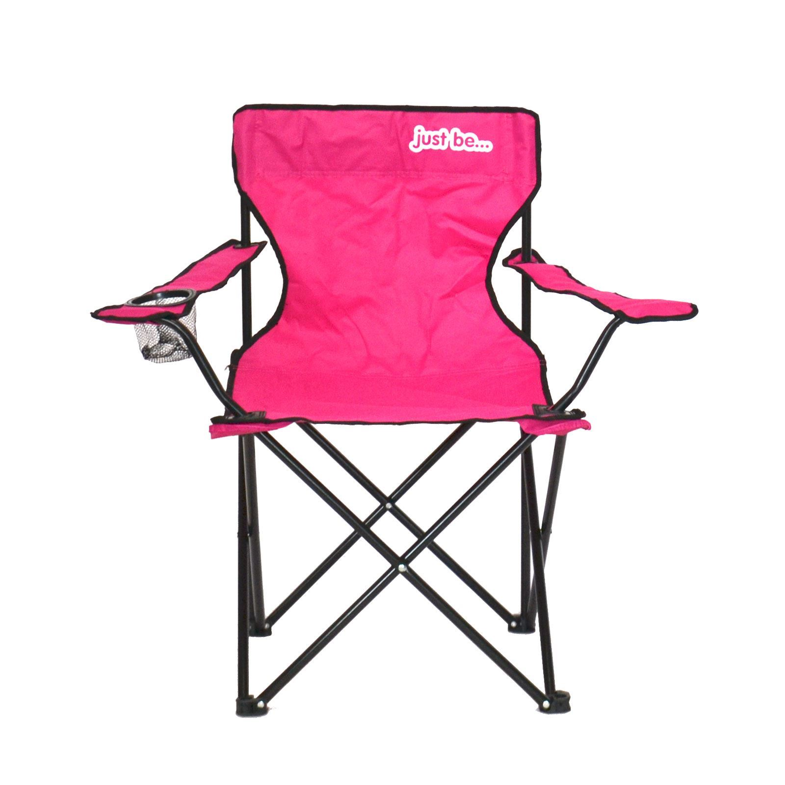 pink folding camping chair outdoor high chairs babies returned stock with black trim ebay
