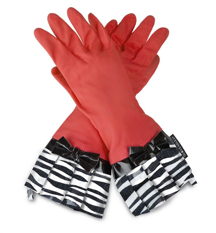 Gloveables Grandway Rubber Cleaning Gloves Red Retro