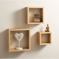 Set of 3 Floating Cubes Wall Mounted Storage Book CD ...
