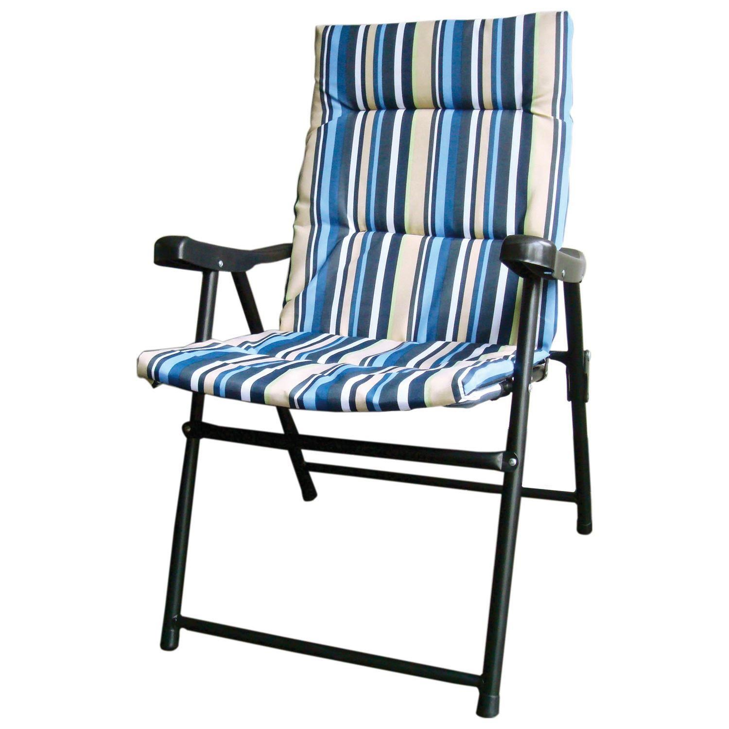 two seater folding lawn chair tree stump 2 x striped padded outdoor garden camping picnic