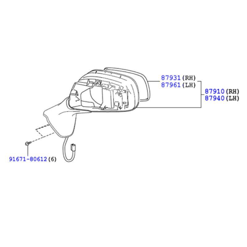 Genuine Toyota Mirror Sub-Assy Out Auris/Hybrid (UKP) 12