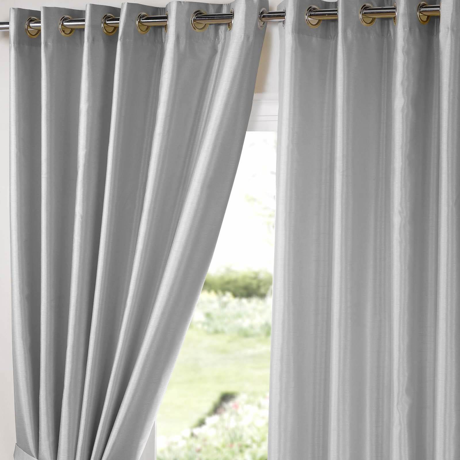 Fully Lined Eyelet Curtains Ring Top Pair Faux Silk Black Silver