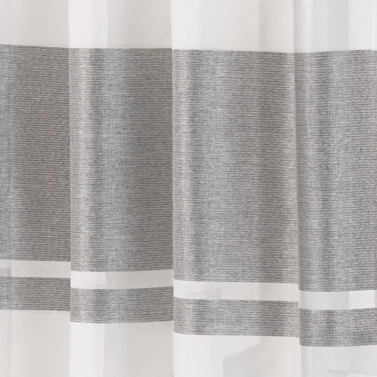 Eyelet Voile Curtain Panel Metallic Stripe Green Silver Plum