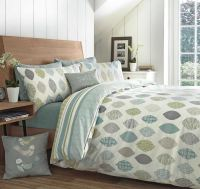 Appletree LEAF REVERSIBLE DUVET COVERS QUILT SET 100% ...