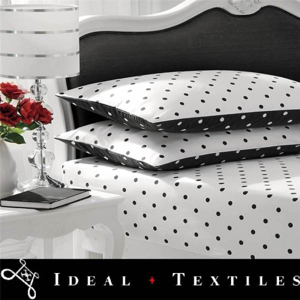 White Black Fitted Sheet Polka Dot Sheets