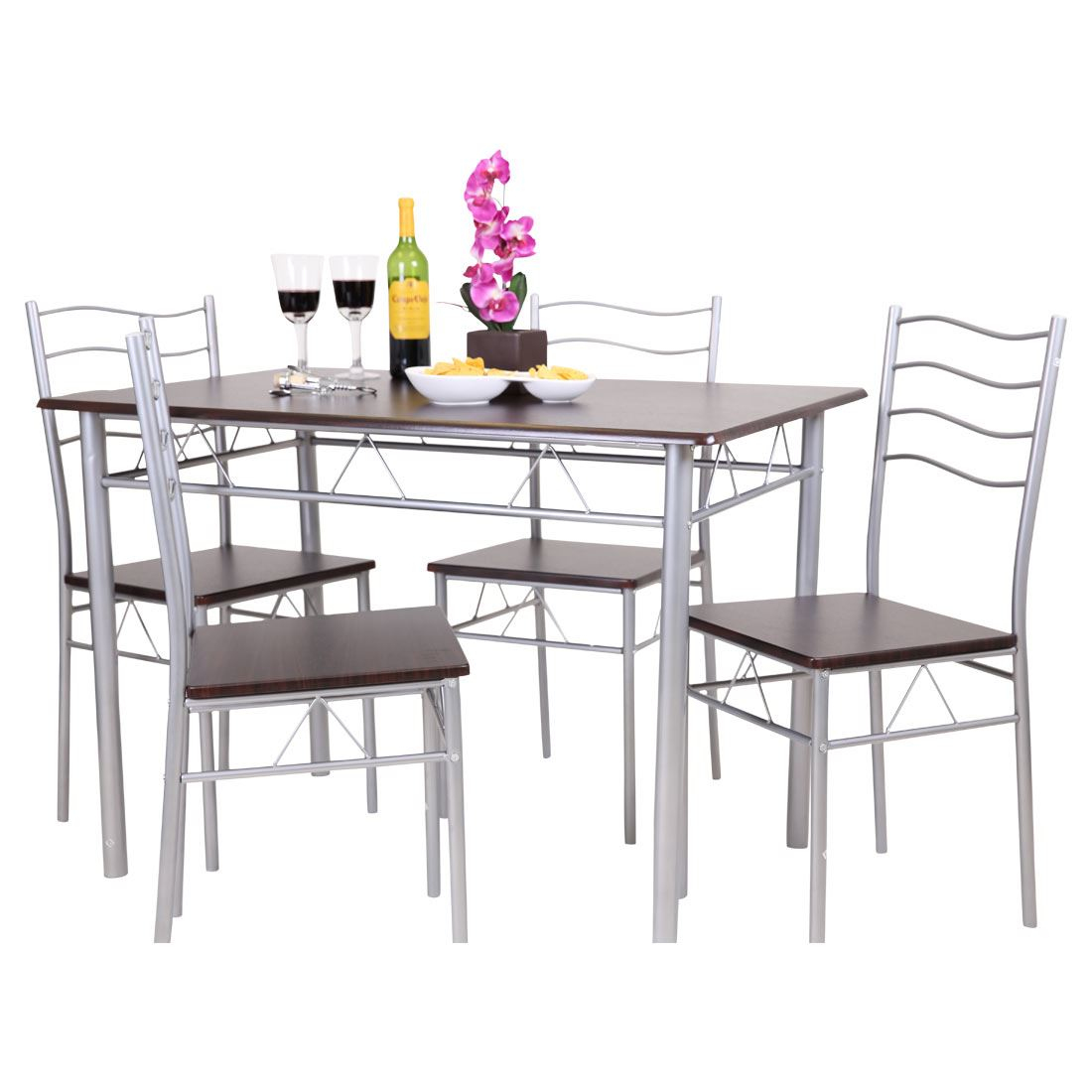 dining table with metal chairs car seat desk chair conversion florida 5 piece and 4 set breakfast