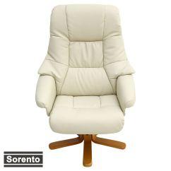 Swivel Chair Feet Design Model Sorento Real Leather Cream Recliner W Foot