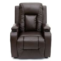 OSCAR BROWN LEATHER RECLINER w DRINK HOLDERS ARMCHAIR SOFA ...
