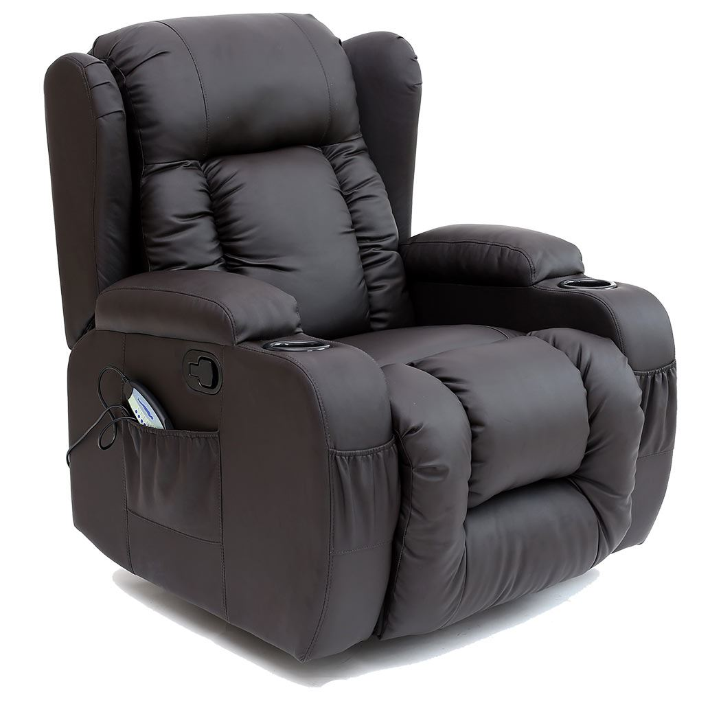 recliner swivel chair wedding cover hire buckinghamshire caesar 10 in 1 winged leather rocking