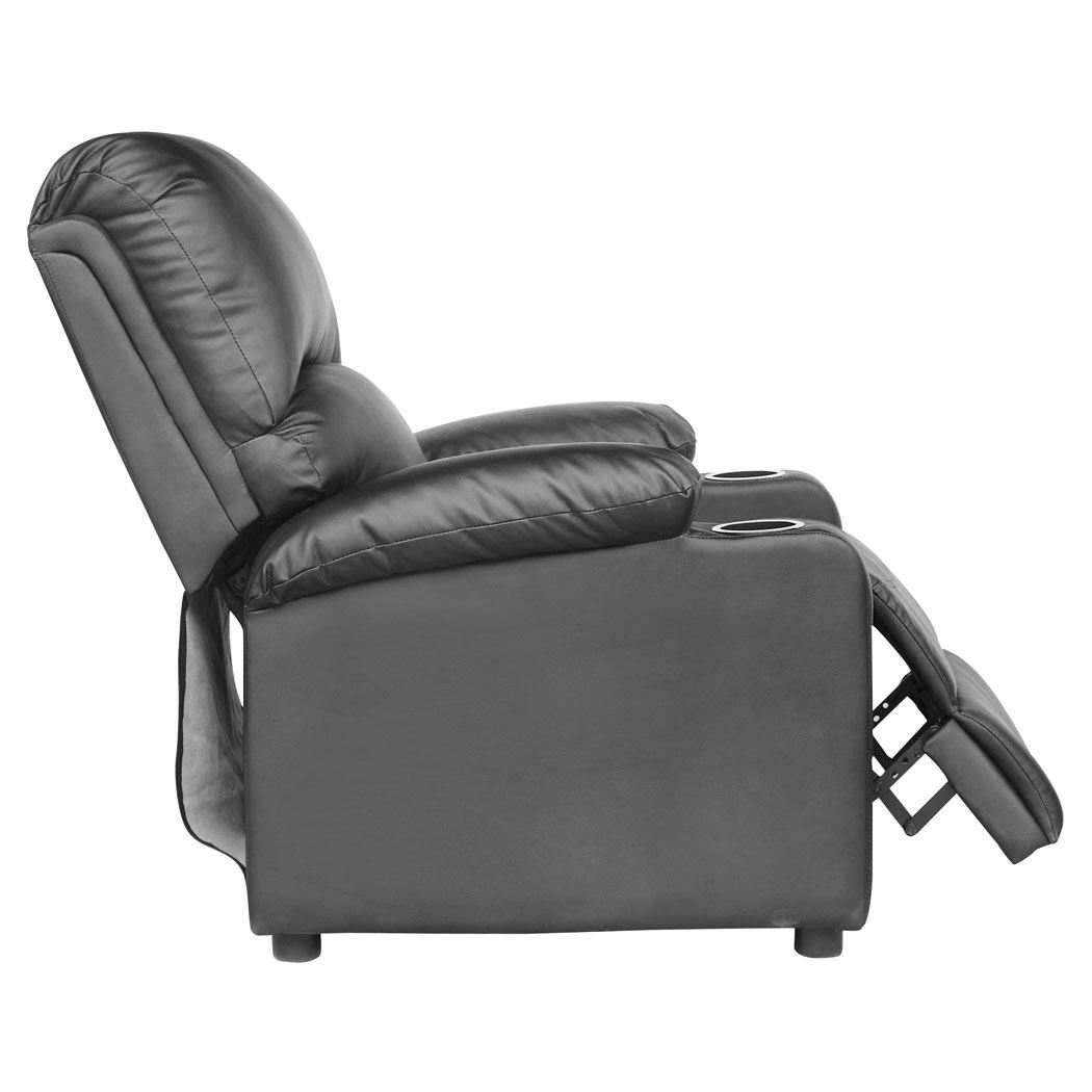 sofa armchair drink holder caddy lazy boy queen sleeper with air mattress kino real black leather recliner w holders
