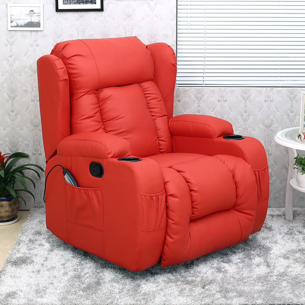CAESAR RED WINGED LEATHER RECLINER CHAIR ROCKING MASSAGE