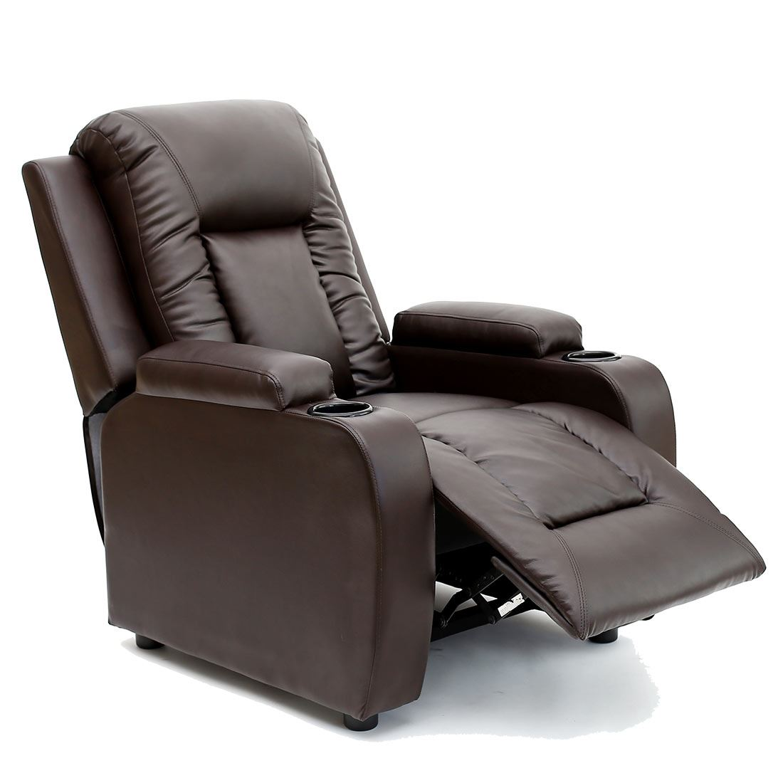 recliner gaming chair disney princess upholstered australia oscar brown leather w drink holders armchair sofa