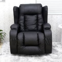 Leather Recliner Chairs Modern Uk Home Depot Wicker Caesar Black Winged Chair Rocking Massage