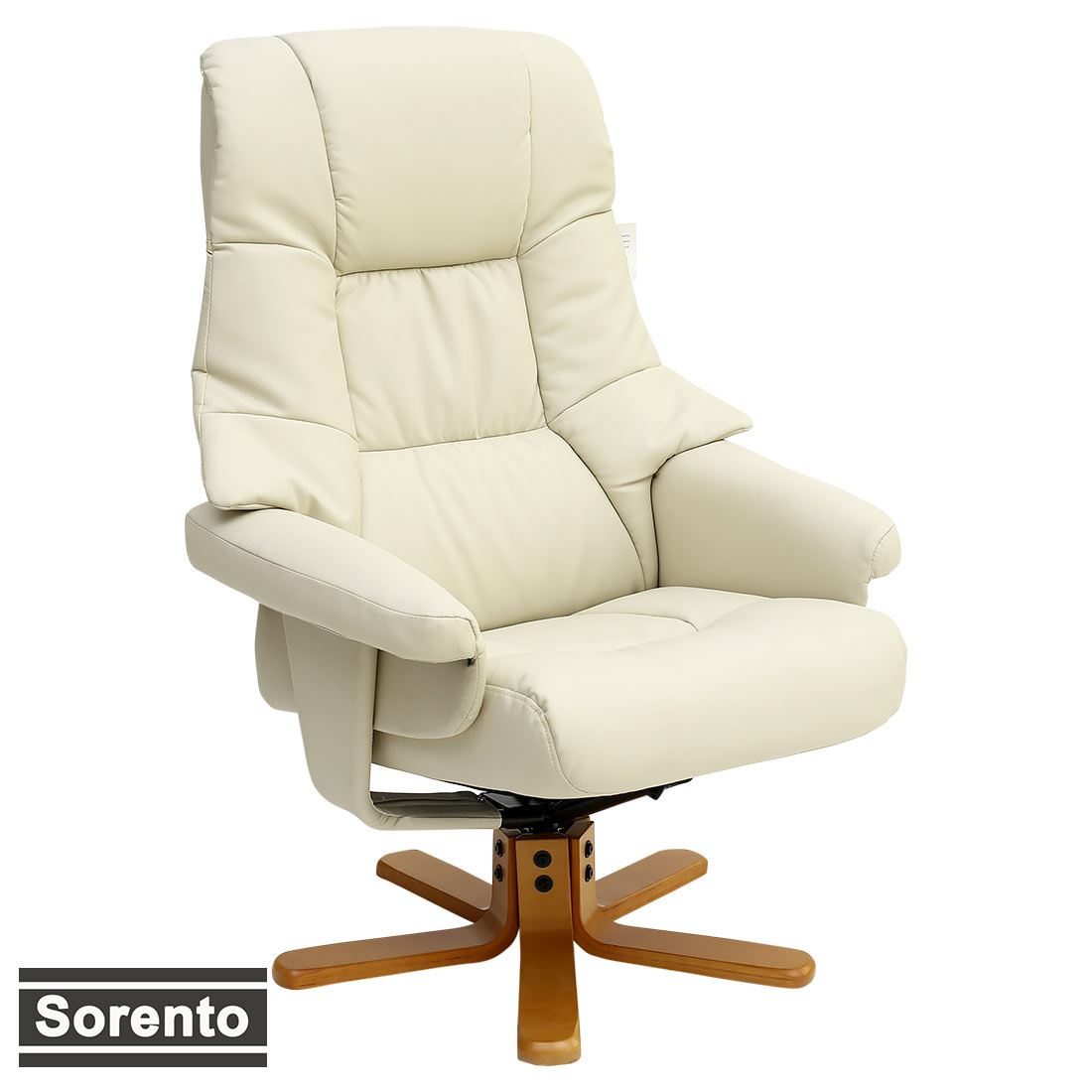 Real Leather Recliner Chairs Sorento Real Leather Cream Swivel Recliner Chair W Foot