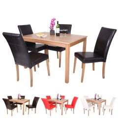 High Table Chair Set Glider Nursery Oakden Oak Veneer Dining And 4 X Faux Leather