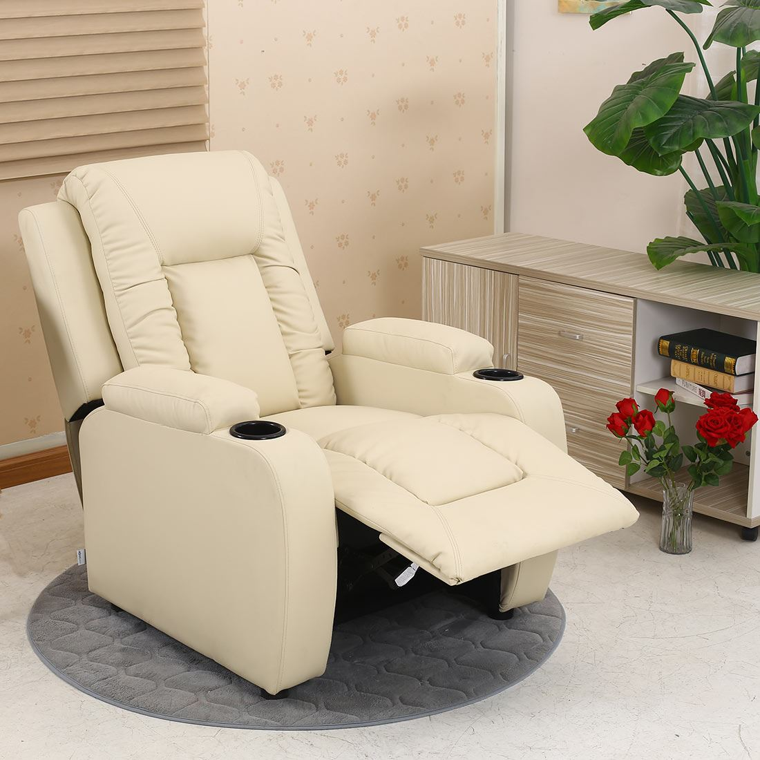 sofa armchair drink holder caddy argos 2 seater covers oscar leather recliner w holders chair