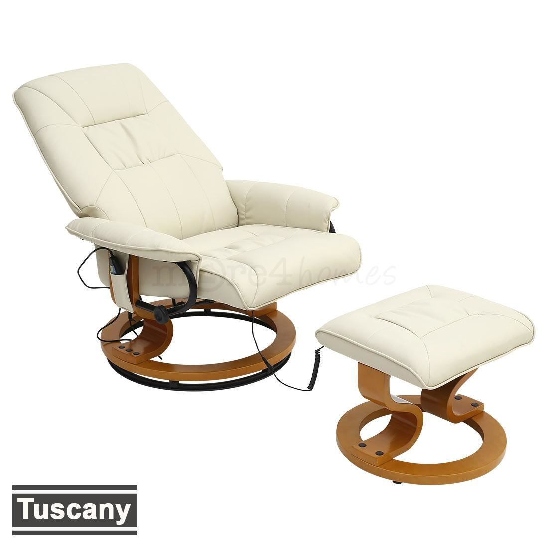 leather swivel recliner chair and stool oversized slipcover t cushion tuscany real cream massage w