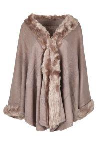 Ladies Womens Faux Fur Trimmed Poncho Cape Scarf Shawl ...