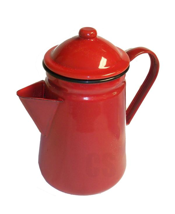 Falcon Red Enamel Tall Coffee Pot With Handle Lid Tea