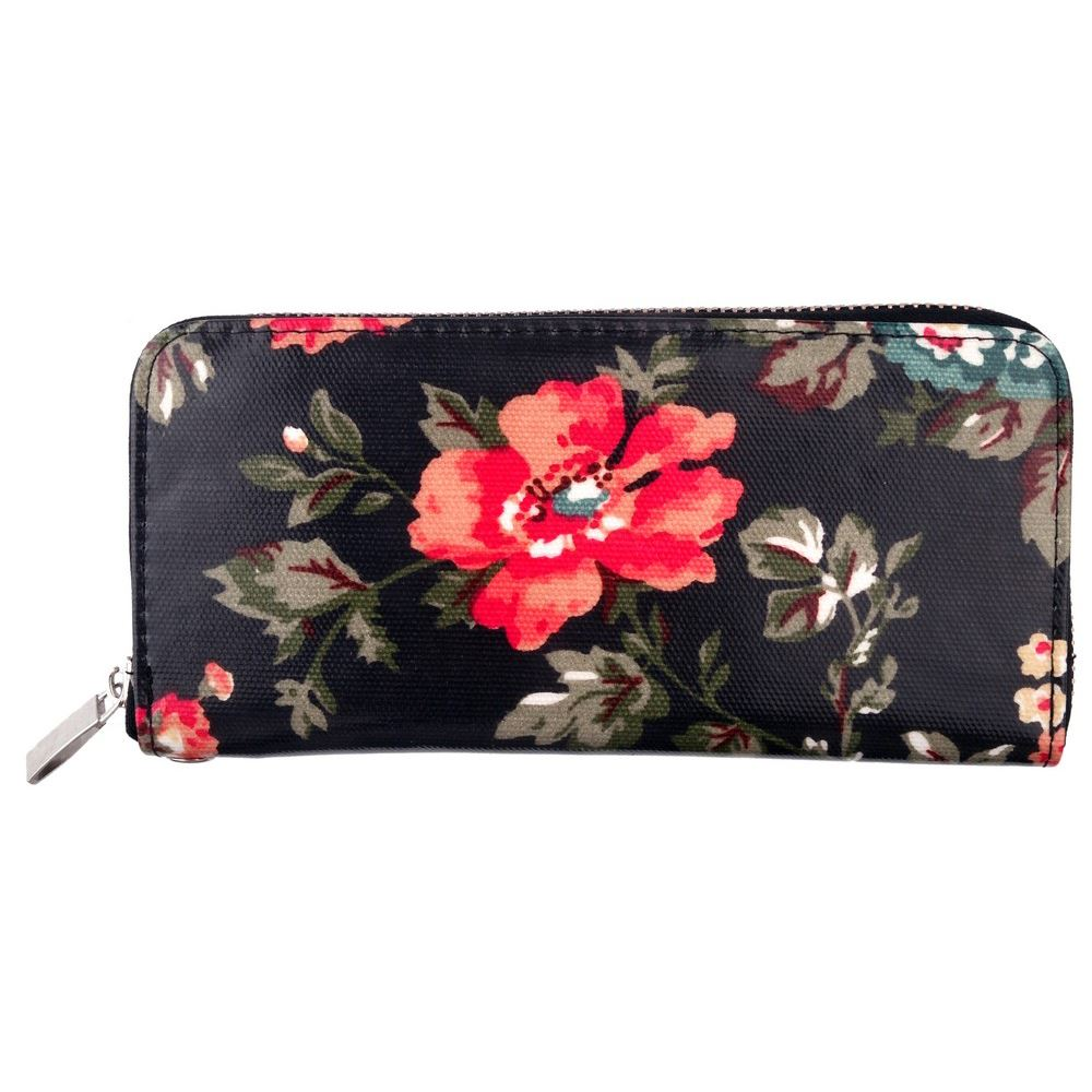Black Vintage Style Floral Clutch Purse Wallet