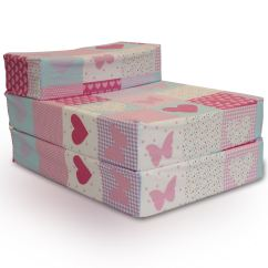 Fold Up Bed Chair Foam Cover Rentals In Memphis Tn Patchwork Butterfly Hearts Pink Kids Out Guest