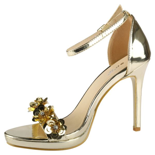 Amerie Womens High Heels Stilettos Open Toe Ladies Sequin