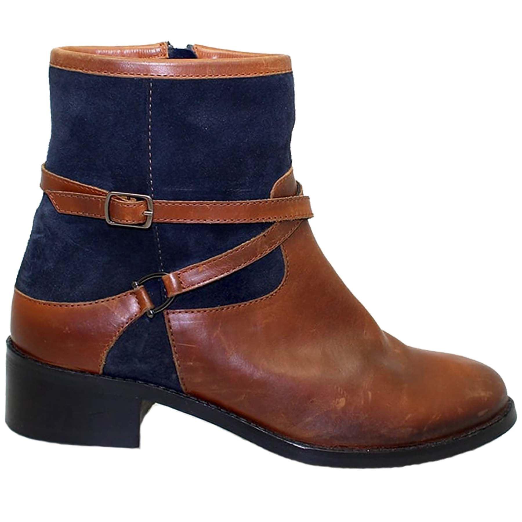 Glh460 Duty Ladies Leather Suede Contrast Low Block Heel
