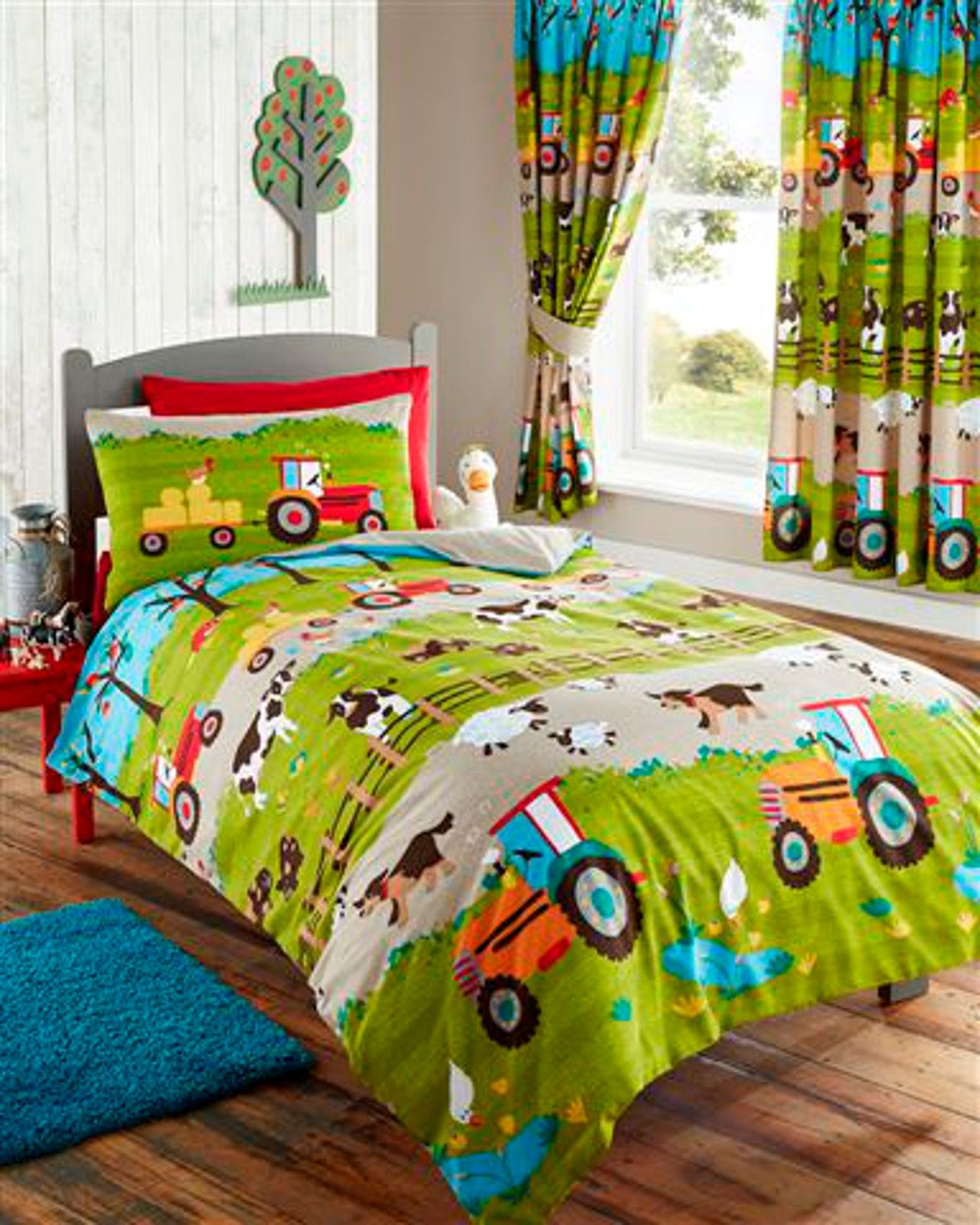 Farm Animals Tractor Kids Duvet Cover OR Matching Curtains