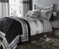 Silver Diamante Quilt Duvet Cover & Pillowcases Bedding