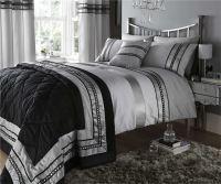 Silver Diamante Quilt Duvet Cover & Pillowcases Bedding ...