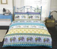 Blue Indian Style Elephant Duvet Cover & Pillowcase ...