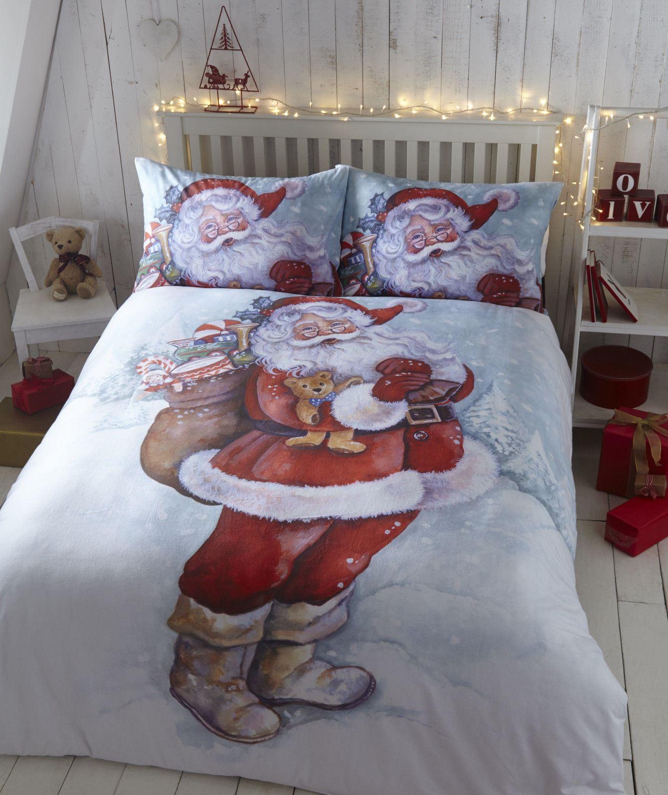 Christmas Flannelette Quilt Duvet Cover  Pillowcase