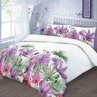 Floral Quilt Duvet Cover & Pillowcase Teal Pink Lilac ...