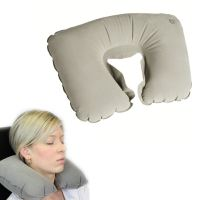 Micro Bead Fiber Inflatable Hoody Travel Pillow Comfy Neck ...