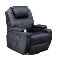 CINEMO BLACK LEATHER RECLINER CHAIR ROCKING MASSAGE SWIVEL ...