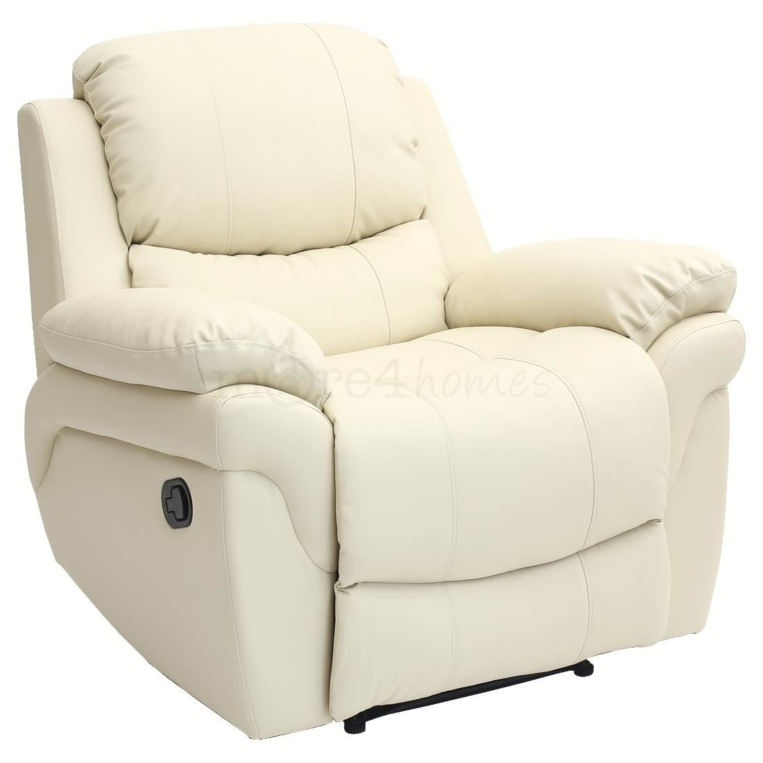 recliner club chair 50s kitchen table and chairs madison cream real leather armchair sofa home