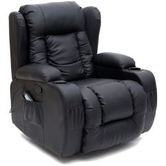 Recliner Gaming Chair Gym Weight Limit Caesar Black Winged Leather Rocking Massage