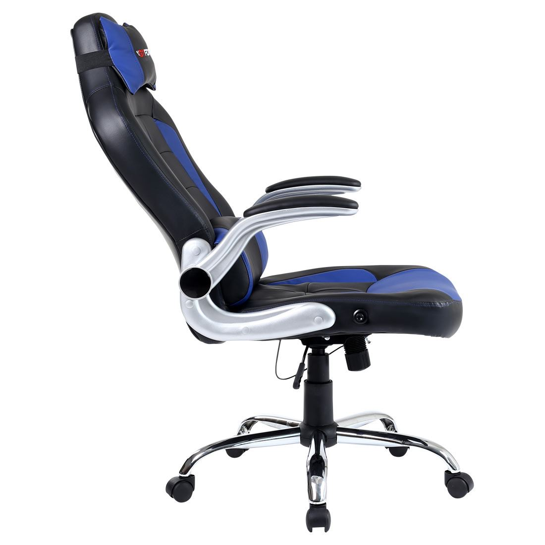reclining gaming chair folding lounge chairs outdoor gtforce blaze blue leather sports racing office
