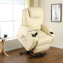 Heated Chair Cover For Recliner Folding Chaise Lounge Walmart Cinemo Cream Elecrtic Rise Leather Massage
