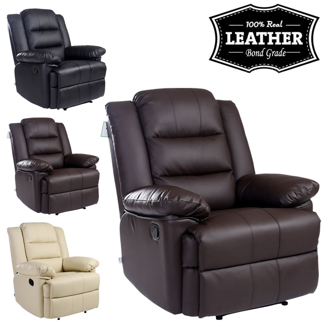 recliner gaming chair wingback leather loxley armchair sofa home lounge