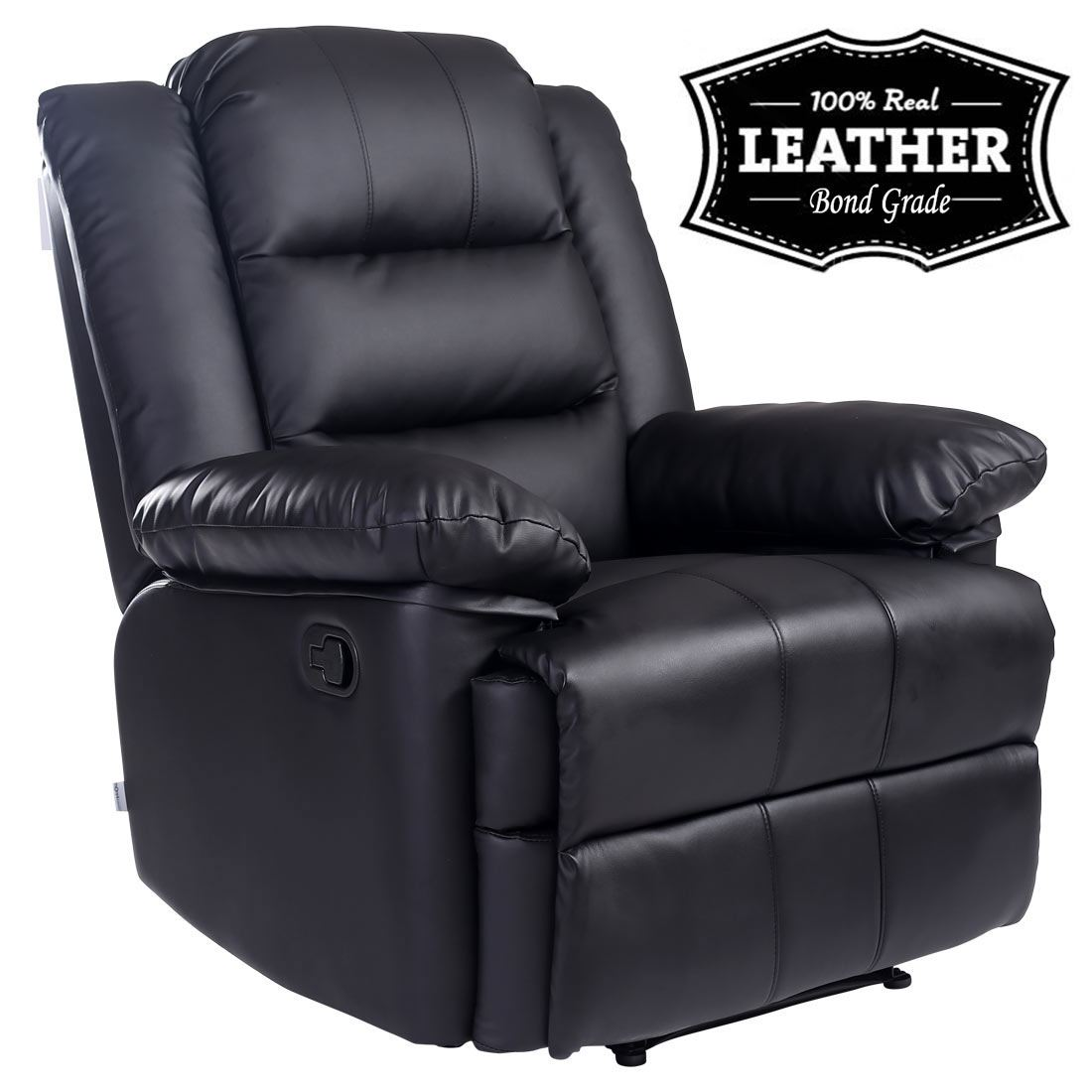 recliner gaming chair physio ball base loxley black leather armchair sofa home lounge