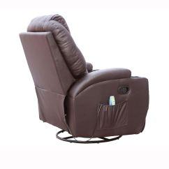 Brown Leather Rocking Chair Swivel No Wheels Cinemo Recliner Massage
