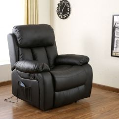 Recliner Gaming Chair Modern White Leather Chester Black Heated Massage Sofa