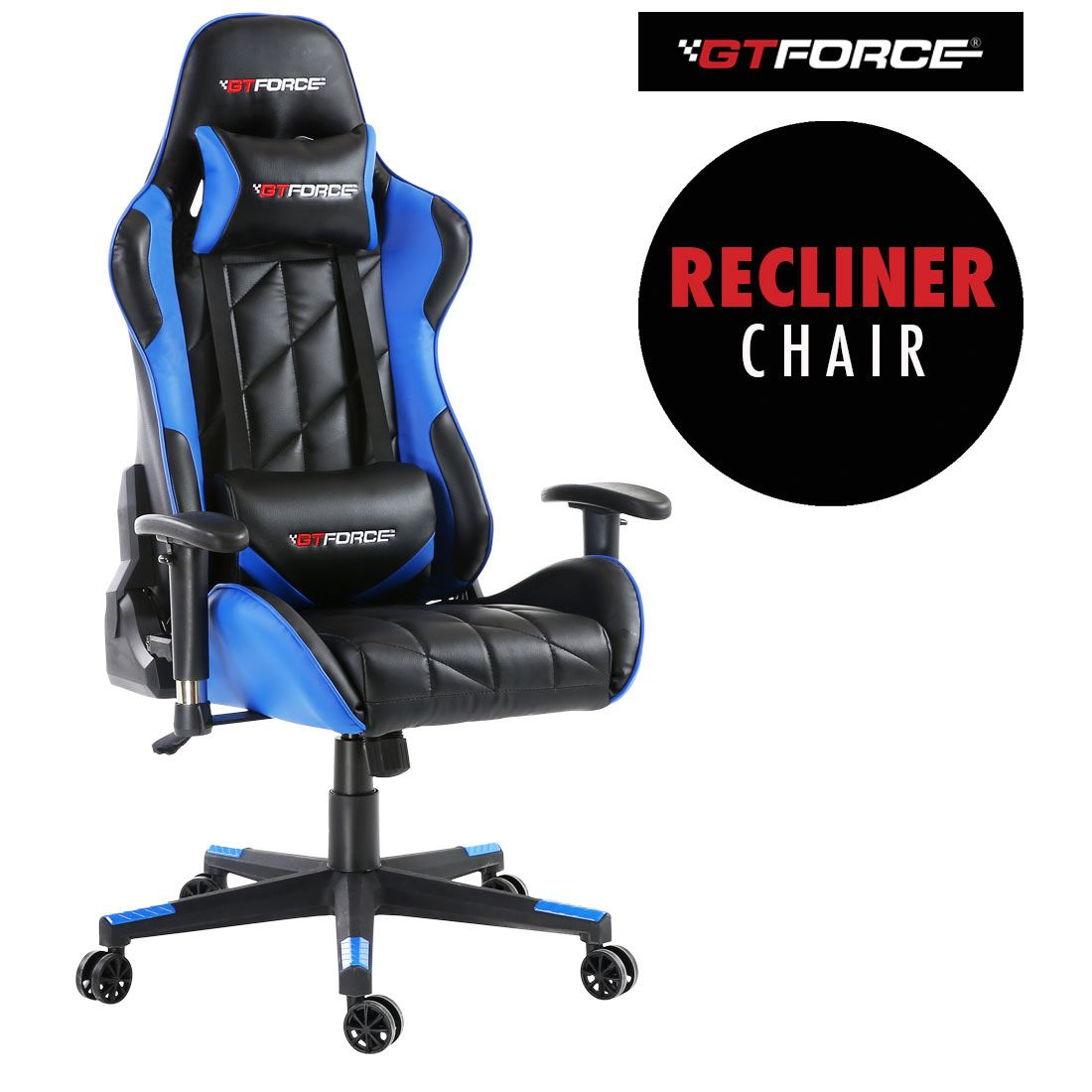 pro gaming chairs uk beach with wheels gtforce gt blue reclining sports racing office