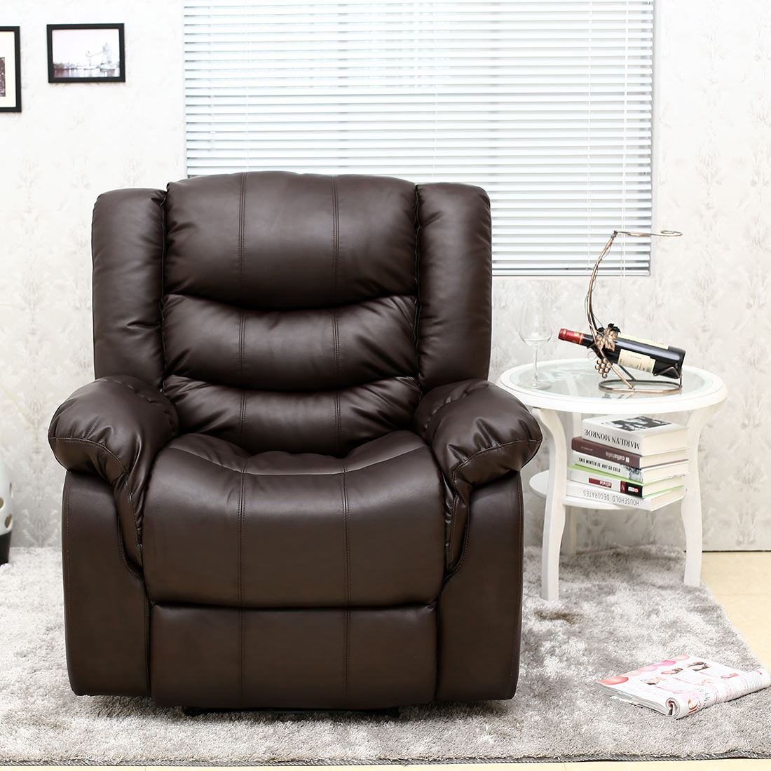 brown leather recliner sofa uk steam clean hong kong seattle armchair home lounge